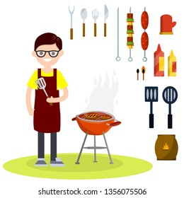 Flat man in red apron with spatula roasting meat on grill on fire. set of barbecue items. Spoon, fork, knife, ketchup, mustard, sausages, charcoal, gloves. Lunch in the backyard. Cartoon illustration
