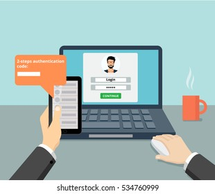 Flat man sitting at desktop and getting access to the website vector illustration. 2-step authentication SMS code password concept.