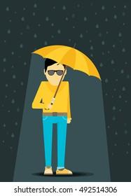 Flat  man with Umbrella Standing Under the Rain. Vector Illustration