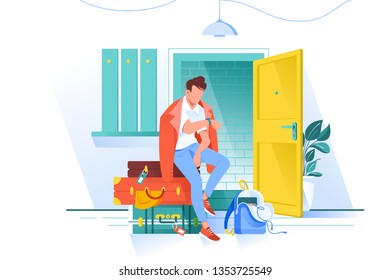 Flat man waiting trip and looks at watch with bags. Concept character before journey, summer holiday equipment. Vector illustration.