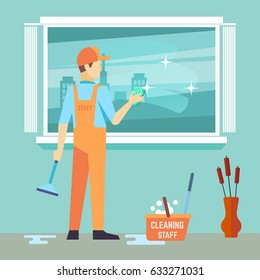 Flat man washes window - cleaning man vector character