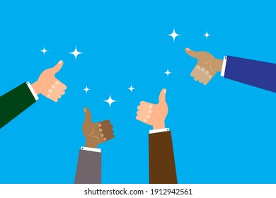Flat many hands like. Business concept. Vector infographic illustration. Stock image. EPS 10.