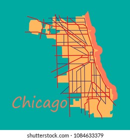 Flat Map Chicago city. Illinois Roads