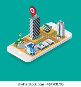 Flat map GPS navigation Isometric City Center