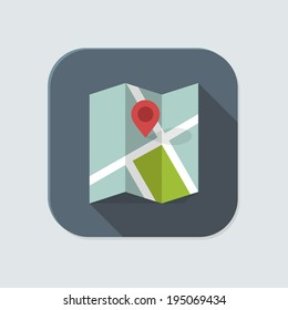 Flat map icon for application on grey background