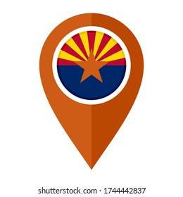 flat map marker icon with arizona flag isolated on white background