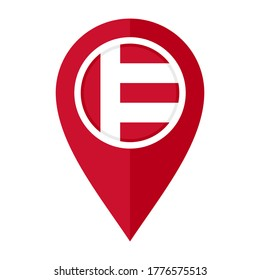 flat map marker icon with eindhoven flag, isolated on white background