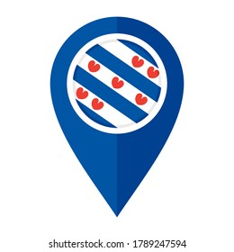 flat map marker icon with friesland flag, isolated on white background