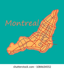 Flat map of Montreal is a city of Canada, with borders of the regions