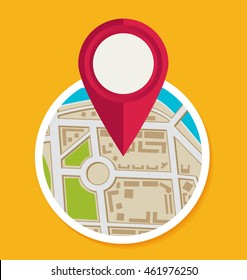 Flat map with pin. Vector map pointer icon