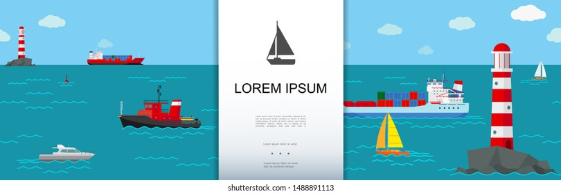 Flat marine transport background with lighthouse buoys different ships and boats floating in sea vector illustration