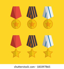 Flat medals icons design with yellow background