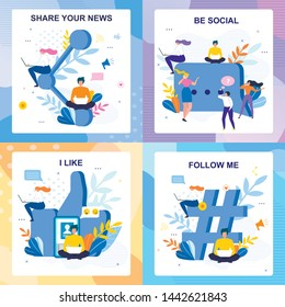 Flat Media Lettering Cards Floral Set. I Like, Follow me, Be Social, Share your News Invitation Phrase. Vector People Characters Chatting, Blogging, Networking Sit by Huge SNS Signs Illustration