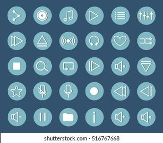 Flat Media Player Icons Set. 8 eps