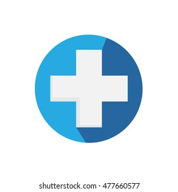 Flat Medical Hospital Icon With Long Shadow