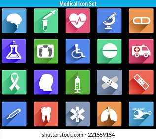flat medical icons with shadow - vector eps10