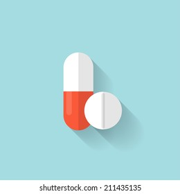 Flat medical pills icon. Tablets symbol. Health care.