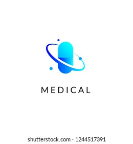 Flat medicine icon blue gradient emblem logos, web online concept. Logo of pill, atom, planet, pharmaceutical icons
