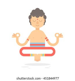 Flat meditating cartoon yogi character in lotus pose, wearing Indian clothes, isolated on white background