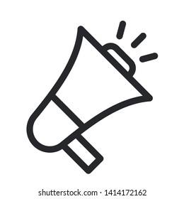 flat megaphone illustration icon vector symbol, eps 10. Alert icon, announcement icon. Horn icon.