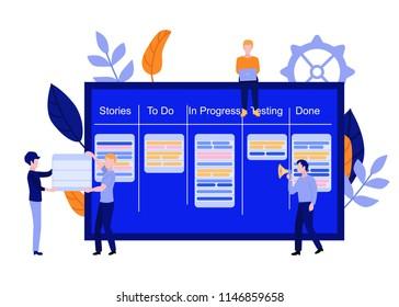 Flat men IT, software developer or designer sitting on big scrum agile board with daily tasks, kan ban desk with sticky notes, speaking in loudspeaker, holding placard set. Vector illustration.