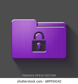 Flat metallic business 3D icon. Purple Glossy Metal Folder With Lock icon with transparent shadow on Gray background. EPS 10, vector illustration.
