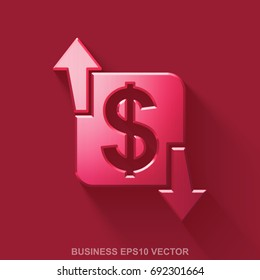 Flat metallic business 3D icon. Red Glossy Metal Finance icon with transparent shadow on Red background. EPS 10, vector illustration.