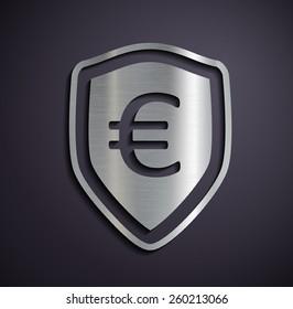 Flat metallic logo euro. Vector image.