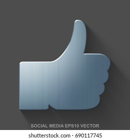 Flat metallic social network 3D icon. Polished Steel Thumb Up icon with transparent shadow on Gray background. EPS 10, vector illustration.
