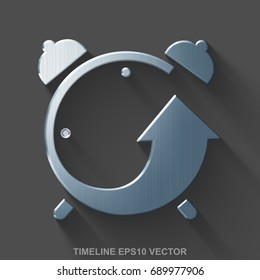 Flat metallic timeline 3D icon. Polished Steel Alarm Clock icon with transparent shadow on Gray background. EPS 10, vector illustration.
