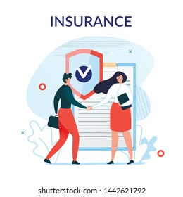 Flat Metaphor Poster Presenting Insurance Services. Cartoon Male Customer and Female Agent Shaking Hands over Huge Safe Contract Agreement. Security and Protection Idea. Vector Illustration