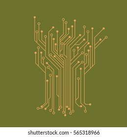 Flat Microelectronics Circuits. Circuit board vector, green background.