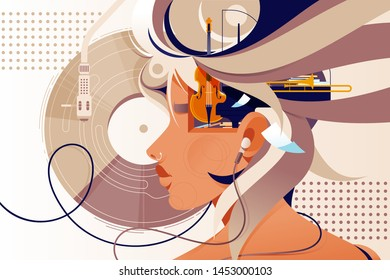 Flat mind vision with music instrument and modern device. Concept woman person character with headphones, music plate and double bass. Vector illustration.