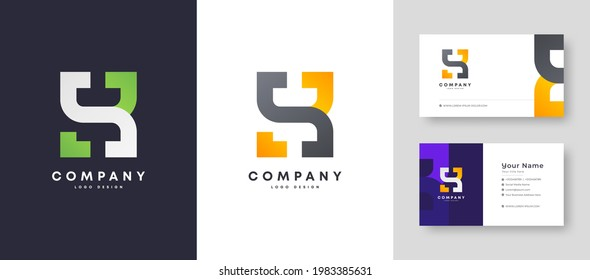 Flat minimal Colorful Initial SB BS Logo With Premium Corporate Stylish Business Card Design Vector Template for Your Company Business