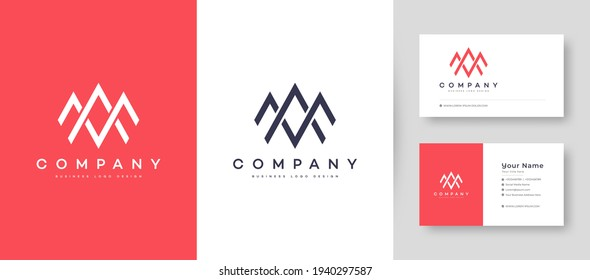 Flat minimal Crown Initial A, MA, and AM Logo With Premium Business Card Design Vector Template for Your Company Business