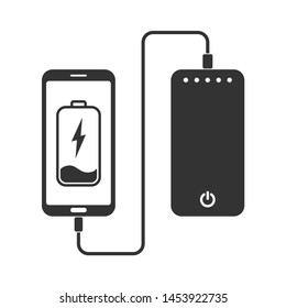 flat minimal icon of phone charging from portable battery or powerbank