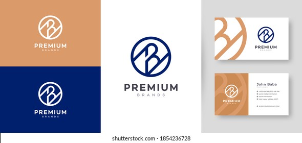 Flat & Minimal Initial B Letter Logo With Premium Business Card Design Vector Template for  Company Business