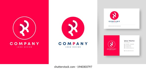 Flat minimal Initial R, RR Logo With Premium Business Card Design Vector Template for Your Company Business