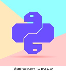 Flat minimalism pastel colored python code icon. Trendy snake vector symbol for web site development or button to mobile app.