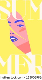 Flat minimalistic vector fashion portrait of a blondie model girl with sunglasses. Retro trendy yellow color. Summer social media stories template. Vintage cityfashion. Hairstyle