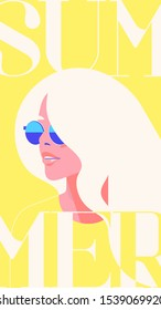 Flat minimalistic vector fashion portrait of a blondie model girl with sunglasses. Retro trendy yellow color. social media stories template. Vintage cityfashion. Hairstyle