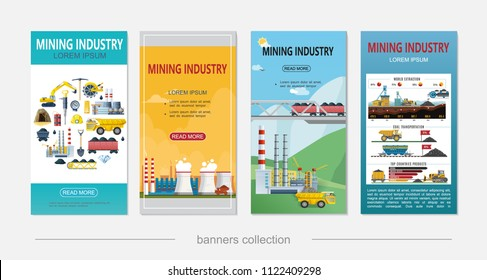 Flat mining industry vertical banners with coal mineral extraction dump truck industrial plant chimneys labor tools excavator gold bar dynamite helmet vector illustration