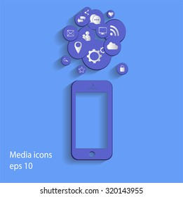Flat mobile phone vector with social media icons gray,  eps 10