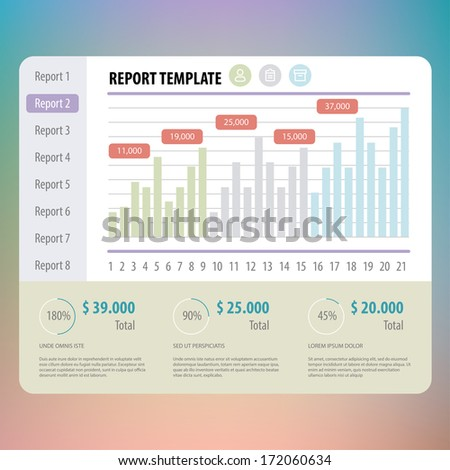 Flat Mobile Ui Design Report Template Stock Vector Royalty Free