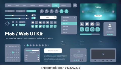 Flat Mobile Web UI Kit. Universal user interface for designing responsive websites, mobile apps. Gradient background. Different UX, GUI screens with buttons, slider, menu template. Modern space style.