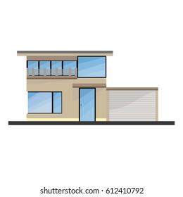 Flat Moder House With Big Windows, Garden And Garage