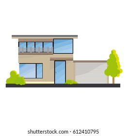 Flat Moder House With Big Windows, Garden And Garage And Grass