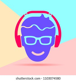 Flat modern art design graphic image of man head with glasses and headphones icon on pastel colored pink and blue background.