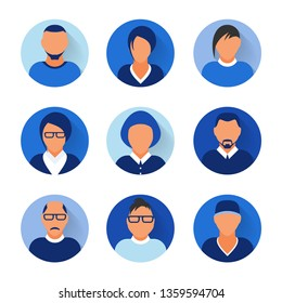 Flat modern blue minimal avatar icons. Business concept, global communication. Web site user profile. Social media, network elements.