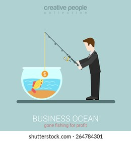 Flat modern business web concept template for businessman investor seeking to catch goldfish. Man fishing in aquarium throw rod with coin bait. Creative people collection.
